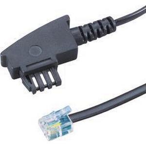 Fax Anschlusskabel [1x TAE-N-Stecker - 1x RJ11-Stecker 6p4c] 6 m Schwarz